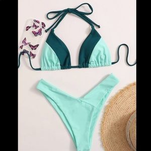 Teal color block blue bikini swimsuit swim bathing